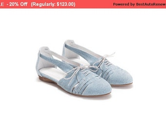 SALE - 20% Off Summer Shoes, Flats, Leather Shoes, Denim Print Leather Shoes, Handmade Shoes,  Women Shoes