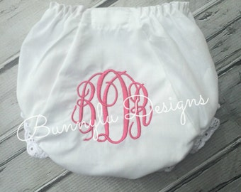 Girls White Eyelet Diaper Cover, Hot Pink Monogrammed Eyelet Panty, Personalized Diaper Cover, Sizes 1-6..