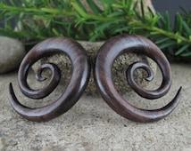 15% OFF SALE  0G  Excellent wooden double spiral , Sono wood   Spiral Organic Ear Gauge, Tribal Gauge, Body Piercing Jewelry L2538