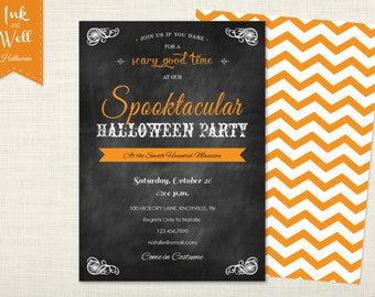 Halloween Invitation, Halloween Party Invitation, Halloween Invites, Halloween Party Invites, Spooktacular Halloween, Chalkboard Invitation