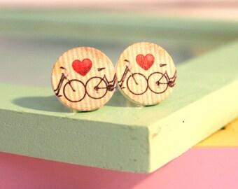 Wood * bike LOVE earrings *.