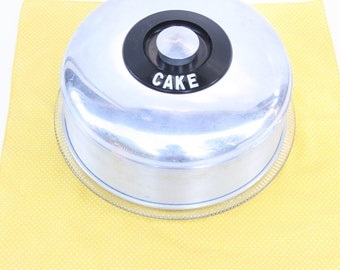 Vintage Cake Cover and Cake Plate ~ Aluminum , Bakelite, and Glass Cake Saver ~ Kromex Cake Saver