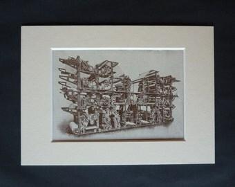 1930s Antique Newspaper Printing Machine Print, Available Framed, Reporter Art Printer Gift Double Octuple Press Wall Art Fleet Street Decor