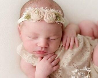 Cream peach newborn headband, ivory elastic headband , baby peach rosettes photo prop headband