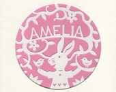 Papercut Baby Name Art, Woodland Bunny , Custom Handcut Woodland Nursery Picture, Rabbit, Birds, Flowers, Custom Baby Name