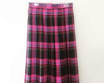 SALE Bright 80s Tartan Vintage Pleated Skirt Grunge