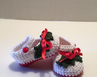 Crochet Baby Booties, 0-3 Months, Christmas