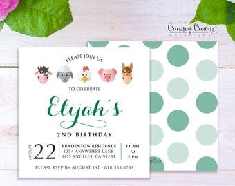 Farm Child's Birthday Invitation - Baby, Toddler, Kid's Birthday Barn Animals Party Invite - Farmer Party - Digital File