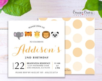 Zoo Child's Birthday Invitation - Baby, Toddler, Kid's Zoo Animals Birthday Party Invite - Jungle Safari Party - Digital File