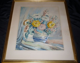 Listed Artist Anna Belle Stone Floral Watercolor Original Newcomb & Macklin Style Frame 1930s California