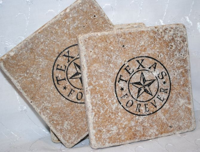 Texas forever texas star in circle set of 4 tumbled tile - Forever tile and stone ...