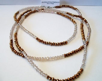 SHOP4FUN Copper Champagne Long Faceted Beaded Necklace Iridescent