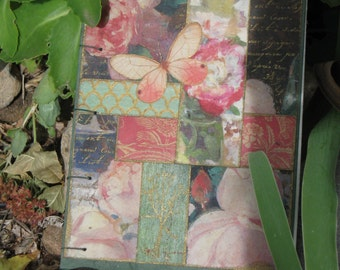 "Small Handbound Journal ""Roses and Butterfly"""
