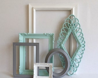 PICTURE FRAME Collection - Set of 6 - Gray Mint Seafoam Aqua White - Open Frame Set - Gallery Wall - Vintage Ornate - Baby Nursery - Wedding