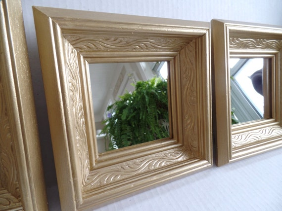 Framed MIRORS - Chunky - Set Of Three - Vintage Square Mirrors ...