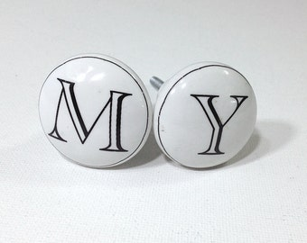 Antique Style White Letter Ceramic Knobs-1