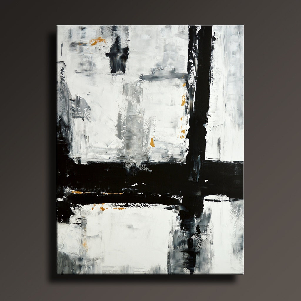 54 large original abstract painting black white gray by itarts for Abstract painting on black canvas