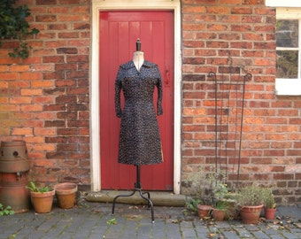 1940s silk dress / 40s abstract print dress / vintage print dress by Emile of New York