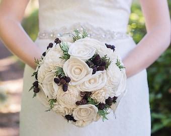 Rustic Bridal Bouquet - Ivory Winter Bridal Bouquet - Bride's Bouquet - Woodland bridal bouquet - Wedding Bouquet  - Ivory Rustic Bouquet