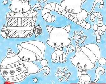 80% OFF SALE Christmas cat digital stamp commercial use, vector graphics, digital stamp, christmas - DS923