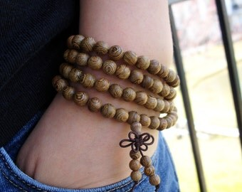 Natural Wood Bracelet, Wood Bead Bracelet, Wenge Wood Mala Bracelet, 108 Mala Beads, Wood Mala, Wood Jewelry, Spirituality Bracelet,Religion