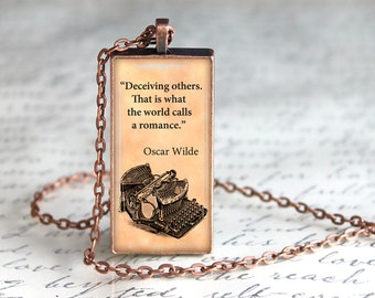 Oscar Wilde Necklace Quote Jewelry Quote Necklace Quote Pendant Oscar Wilde Pendant Literary Jewelry Oscar Wilde Jewelry Inspirational Quote
