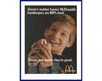 """McDONALD'S RESTAURANT Original 1969 Vintage Extra Large Color Print Ad - """"Jimmy's Mother Knows McDonald's Hamburgers Are 100% Beef."""""""