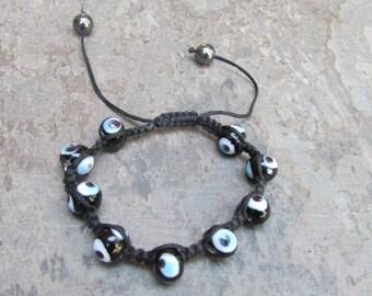 Evil Eye beaded woven braided adjustable bracelet black white and Blue