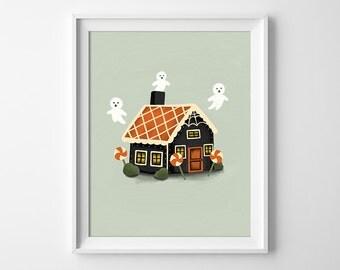 Gingerbread House Art Print - Haunted House Print- Halloween Wall Art - Ghost Art Print