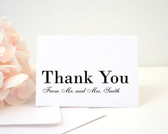 PRINTED Thank You Card, Wedding, Shower, Card, Folded, Modern, Black, Simple, Elegant, Classy, Card, Calligraphy