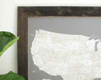 Small Us Push Pin Travel Map Handcrafted Reclaimed Wood Map 20x24 Push Pin Map