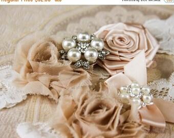 20% OFF Ivory Lace Garter Set, Lace Wedding Garter Set, Ivory Bridal Garter, Champagne Wedding Garter, Personalized Garter