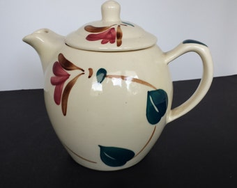 Purinton  Teapot Red Blossom Ivy