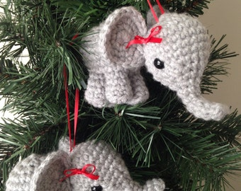 Elephant Christmas Ornamant.  Crochet.