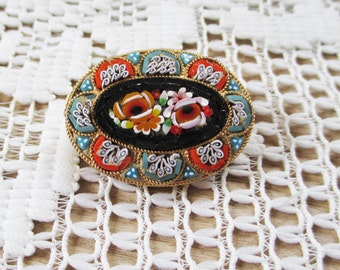 Vintage  Floral Mosaic Brooch-Vintage Mini Jewelry Brooch-Tiny Tile Brooch-Marked Italy - Estate find!