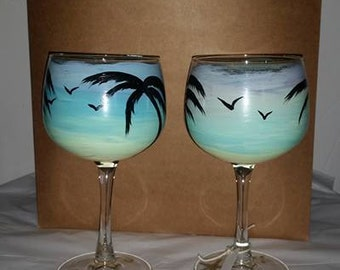 Tropical Sunset Silhouette Glasses