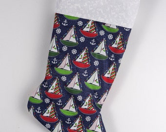 Christmas sailboat stocking