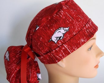 Call the Hogs ponytail scrub hat - womens lined surgical scrub cap, 168-2160 W
