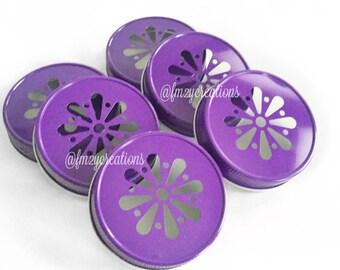 Purple Color Daisy Lids--(6) Daisy Cut Purple Mason Jar Lids, Metal Jar Lids, Mason Jar Lids, Wedding Daisy Lids