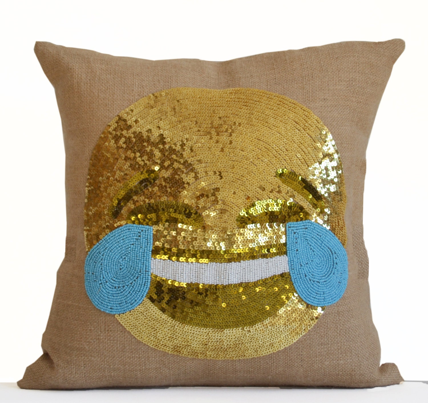 Burlap Throw Pillows Etsy : Happy Face Throw Pillow Cover in Natural Burlap Embellished