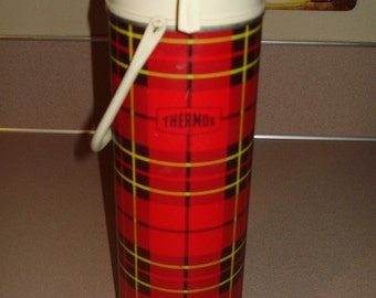 Thermos Vintage Plaid Quart Size Thermos Very Nice