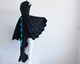 Black Dragon Children Costume, Party Costume or Halloween Kid Costume Wings