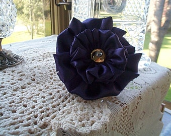 Plum Satin Fabric Flower Set 2