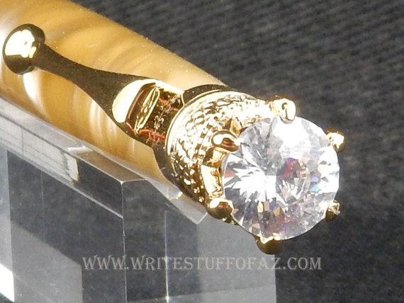Taupe Twist Pen, Adorned with Swarovski Crystal and Finished in 24k Gold Plating