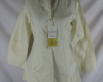 Vtg 50s 60s Judy Bond Womens Vintage Creme Swirl NWT Dead Stock Top Shirt C38