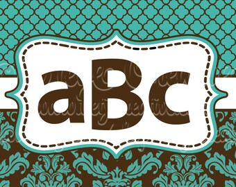 Brown & Aqua Damask License plate