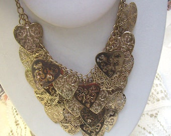 Summer Sale...Large Vintage Multi Hearts Necklace...Textured Hearts...Multi Chains... Overlapping Layers....25 Hearts...Statement Necklace