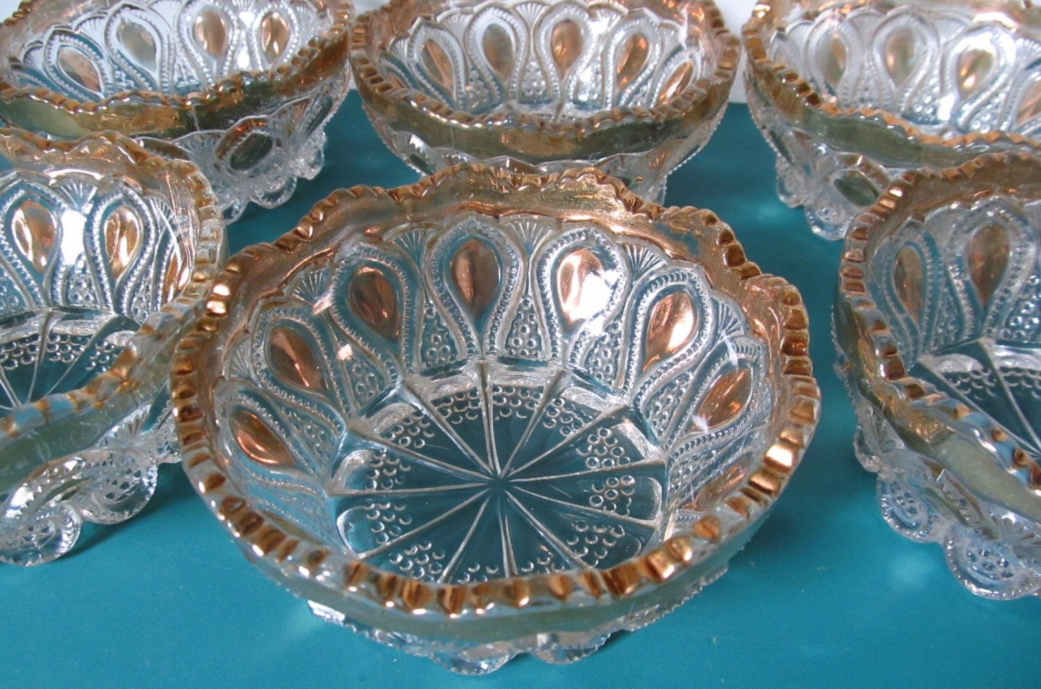 Eapg Us Glass Berry Bowls New Jersey Loops And Drops Pattern