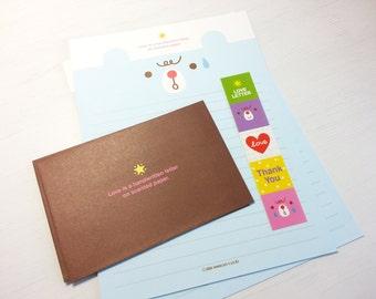 Animal Letter Paper -4 Sheets + 2 Envelopes + 5 Stickers