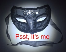 BDSM mask black lace cutout masquarade dildo cock ring cockring butt plug buttplug sex toys sextoys sexy adult vibrator fetish CyrDion